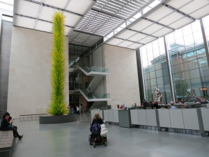 Chihuly sculpture and The New American Cafe space at the MFA, Boston